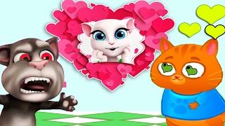 Котик Бубу дарит кошке Анджеле ВАлентинку в игре для детей Talking Angela & Bubbu