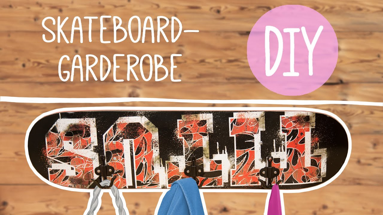 diy mit nina skateboard garderobe selber basteln by. Black Bedroom Furniture Sets. Home Design Ideas