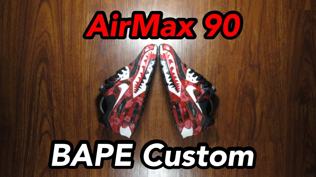668c10ff65f Air Max 90 Bape Custom! (CRAZY TRANSFORMATION) - YouTube