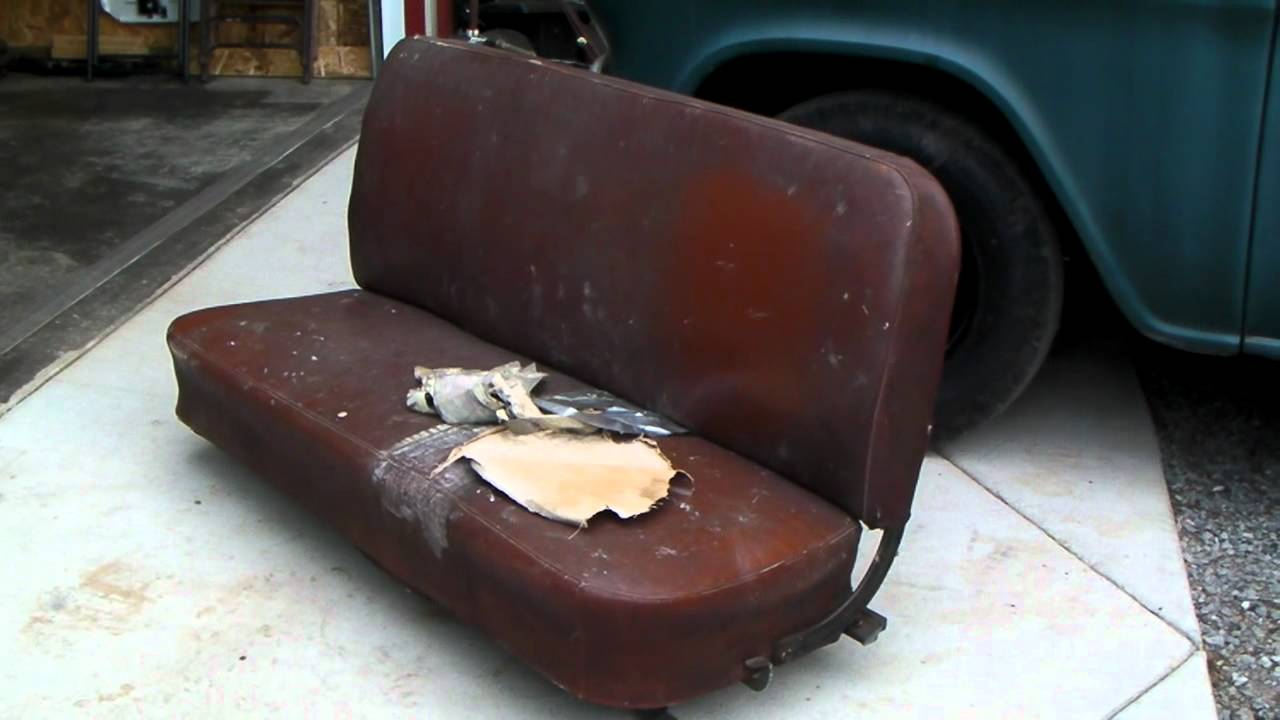 1956 Chevy Truck Seat Reupholstered Part 1  YouTube