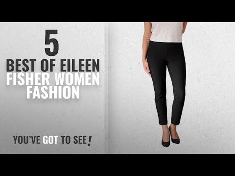 Eileen Fisher Women Fashion [2018 Best Sellers]: Eileen Fisher Womens SLIM ANKLE PANT W/YK In Black