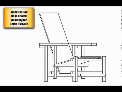 Chaise du designer gerrit rietveld vues dessin technique for Chaise dessin