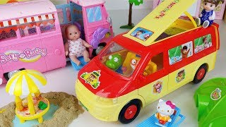 Learn play house Baby doll Camping BUS toys and picnic car play - ToyMong TV 토이몽