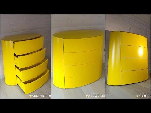 ВидеоОбзор эксклюзивного комода желтого цвета. Усеченный овальный конус. Тумбы, комоды Киев.