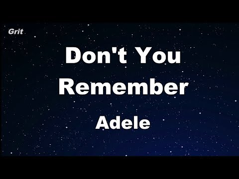 Don't You Remember - Adele Karaoke 【No Guide Melody】 Instrumental