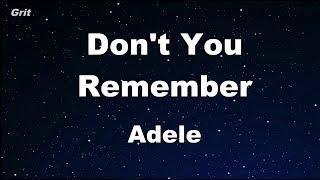 Video Don't You Remember - Adele Karaoke 【No Guide Melody】 Instrumental download MP3, MP4, WEBM, AVI, FLV April 2018