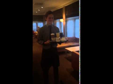 Hoverboard Swegway waiter service drink delivery in the Forest Pines Hotel & Golf Resort in North L