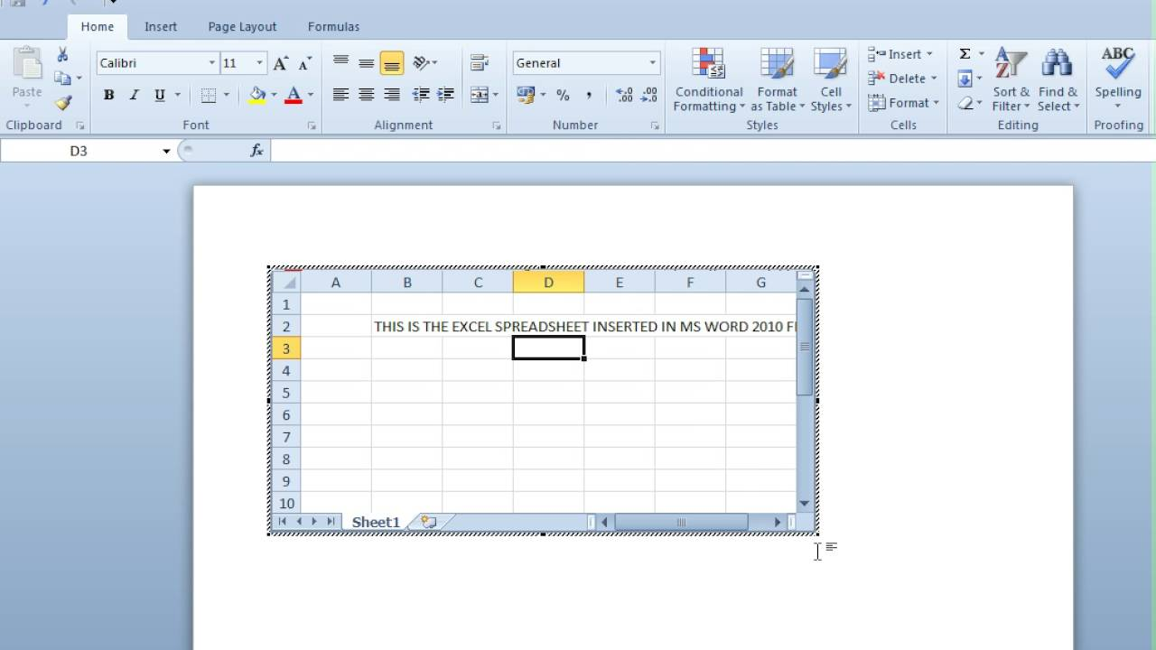 How To Insert Excel Sheet In Ms Word 2010 Document