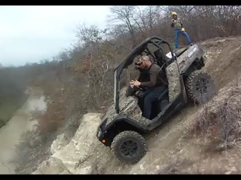 Can Am Commander does STEEP hill into river!