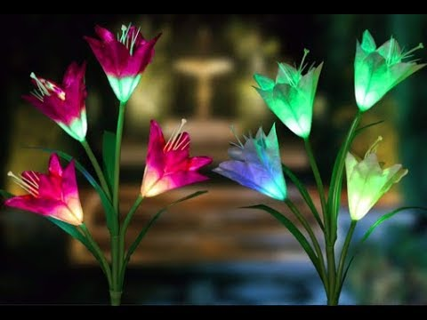 XJEXPO Solar Flower Lights,Solar Garden Stake Lights Outdoor with 8 Lily Flowers