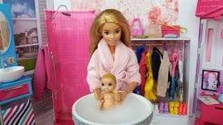 Barbie Doll Baby Morning Routine in a pink Barbie's Bedroom. Barbie Video for Kids.