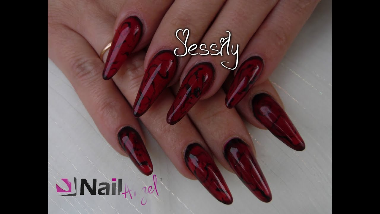 ongle en gel forme amande classique marbrure noir et rouge avec nailangel youtube. Black Bedroom Furniture Sets. Home Design Ideas