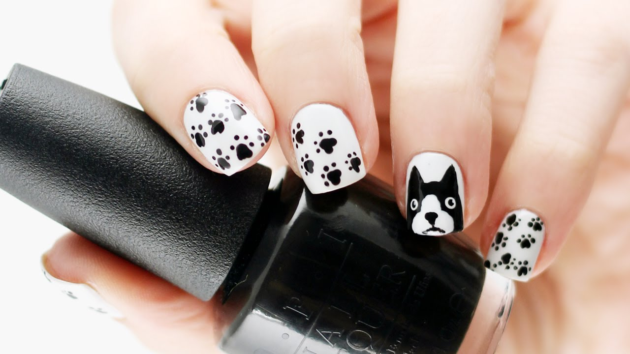 Boston terrier/french bulldog nail tutorial - YouTube