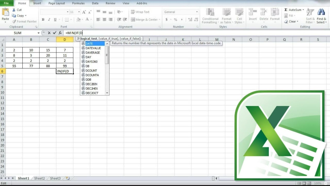 Excel Min Value Of Cell Range Using Min If Function With