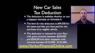 New Car Sales Tax Deduction 2012, 2013