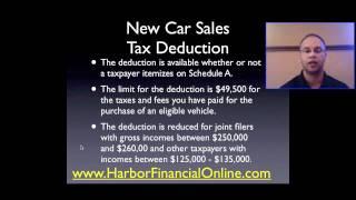 New Car Sales Tax Deduction 2012, 2013
