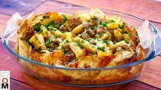 Потрясающий Обед в Пакете Для Всей Семьи, Все Смешал и Готово «Картошка с Мясом в Рукаве в Духовке Рецепт»