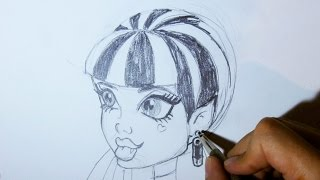 How to draw Draculaura from Monster High step by step SIDE VIEW