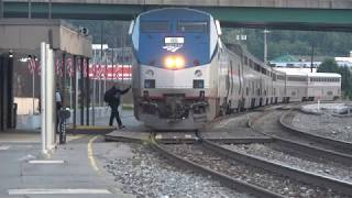 Capitol limited station stop and crew change Cumberland, Maryland 4k