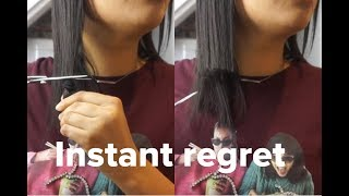 Cutting my hair and regretting it for 16 minutes straight | New Year new Edges