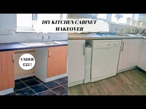 how-to-vinyl-wrap-kitchen-cabinet-doors-//-budget-kitchen-makeover