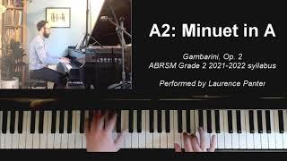 A:2 Minuet in A (ABRSM Grade 2 piano 2021-2022)