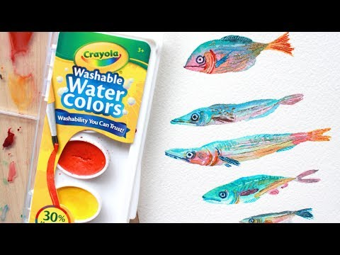 Painting with Crayola Watercolors! ☼ (Rainbow Fishies~)