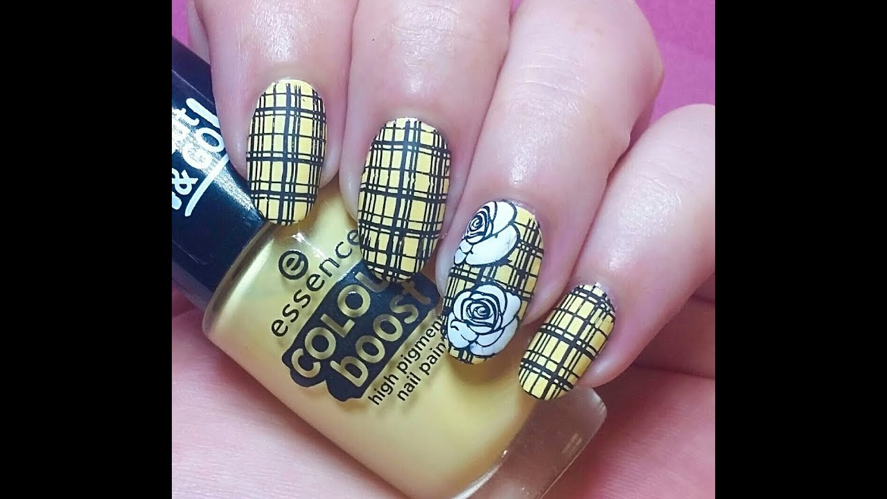 Roses & Plaid Nail Art Stamping Tutorial - YouTube