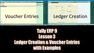 Introduction to Voucher Entries and Ledger Creation in Tally ERP 9 Tutorial - Lesson 3