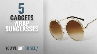 Top 10 Gadgets Wrap Sunglasses [2018]: GADGETS WRAP Round Women Sunglasses Lady Fashion Desinger