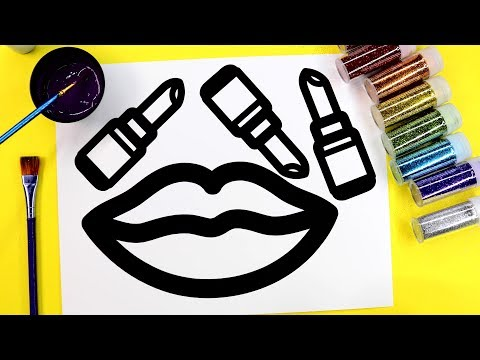 💜 Sparkle and Glitter Makeup Lipstick Coloring Page and Learn Coloring 💜
