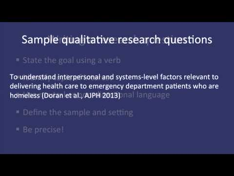 Fundamentals Of Qualitative Research Methods: Developing A Qualitative Research Question (Module 2)