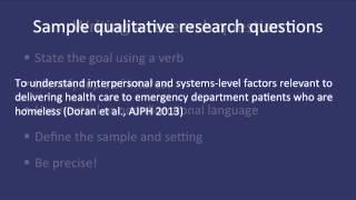 Fundamentals of Qualitative Research Methods: Developing a Qualitative Research Question (Module 2) thumbnail