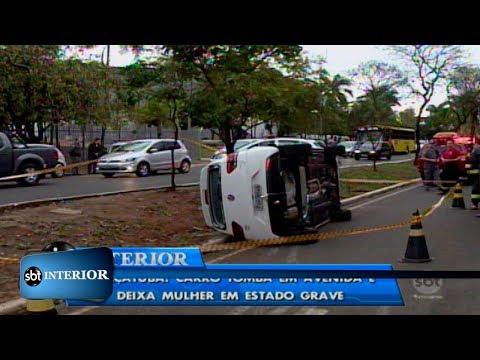 Araçatuba: carro tomba em avenida e deixa mulher em estado grave