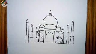 How To Draw Taj Mahal Step By Step   Taj Mahal Drawing   Easy Taj Mahal Drawing