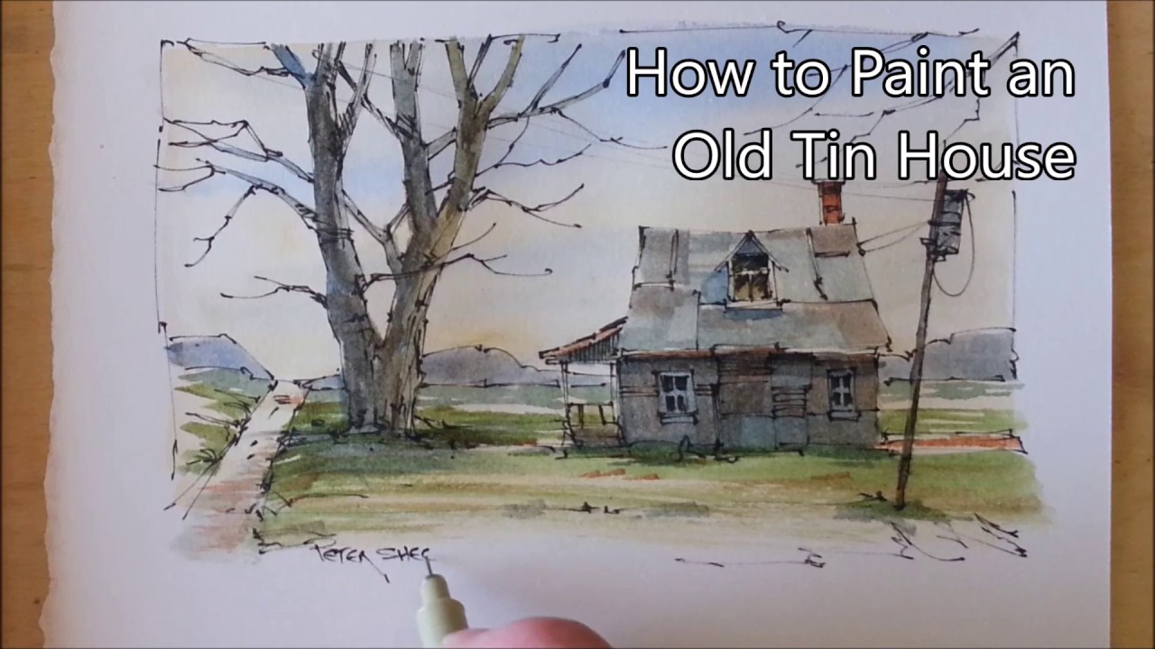 Line Art Watercolor : How to draw and paint an old farmhouse line wash