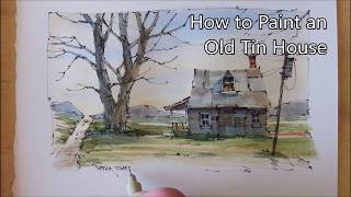 How to Draw and paint an Old Farmhouse Line and Wash Watercolor. Beginner lesson. Peter Sheeler