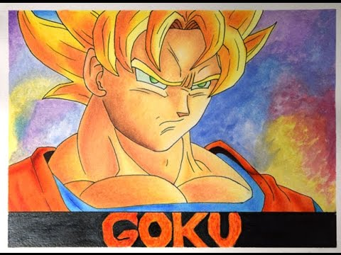 Como Dibujar A Goku Colores Prismacolor Youtube