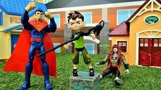 Бен 10 и Супермен против Хекса! Супергерои в видео для мальчиков.