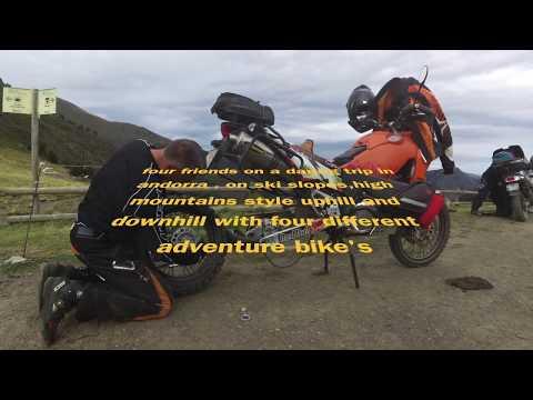 Andorra ski resort on heavy adventure bike's