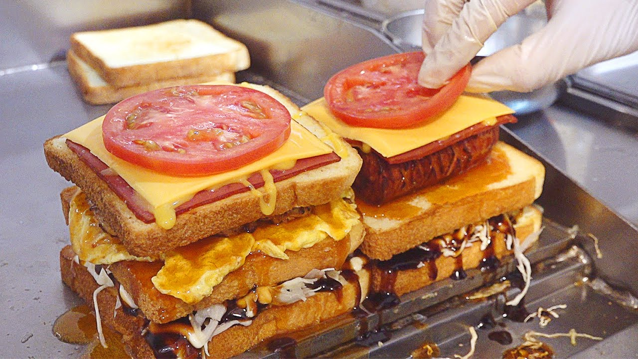 4단토스트 Big 4-Tier Toast! Ham Cheese Egg Toast - Korean Street Food