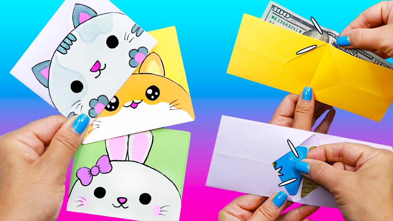 КОШЕЛЕК ИЗ 1 листа БУМАГИ - 3 идеи!  DIY Кошелек с котиком, с зайкой и хомячком