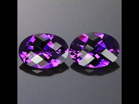 Pair 9.38 Checkerboard Oval Amethyst from Rwanda