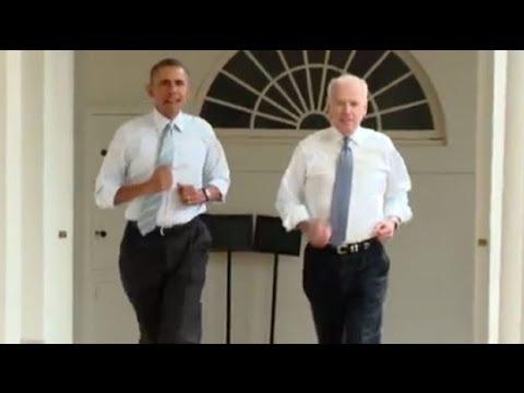 Barack Obama and Joe Biden in White House workout
