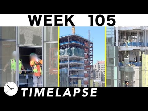 Construction time-lapse with 16 closeups: Week 105: Curtain wall glass and more