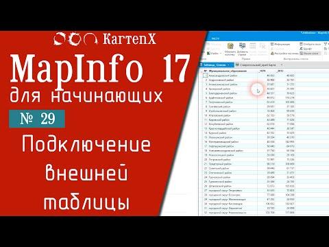 MapInfo 17   Присоединение внешней таблицы