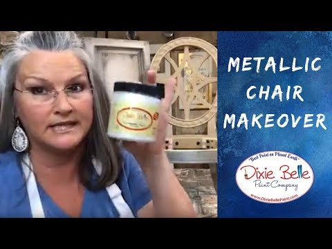 Chair Makeover: DIY Metallic Grunge Silver With Dixie Belle Paint