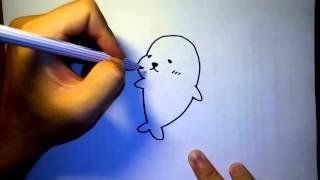 วาดการ์ตูน กันเถอะ สอนวาดรูป การ์ตูน แมวน้ำ มาเมะโกมะ