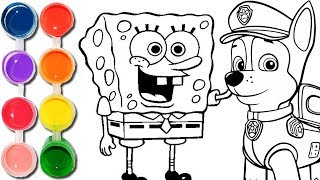 How to Draw & Color Paw Patrol Chase & Spongebob Squarepants | Kids Drawing & Coloring Learning SC4K
