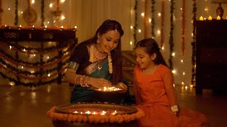 Beautiful Indian mother and daughter celebrating the Indian festival - Diwali Concept